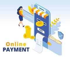 Online payment concept isometric design
