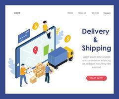 Ilustración de concepto de entrega y envío vector