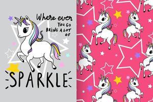 unicornio lindo dibujado a mano con conjunto de patrones