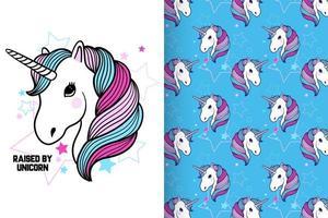 Hand drawn cute unicorn with pattern set