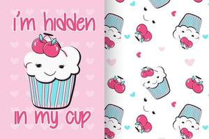 Hand drawn cute cupcake with pattern set