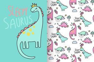 Hand drawn cute dinosaur with pattern set