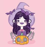 lindo cartel de halloween con brujita vector