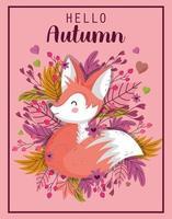 hola cartel de la temporada de otoño con lindo zorro