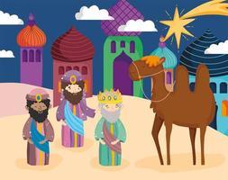 cartel de feliz navidad y natividad con los tres magos