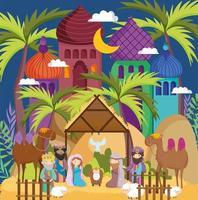 cartel de feliz navidad y natividad