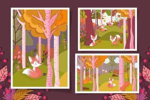 hola cartel de la temporada de otoño con lindos zorros