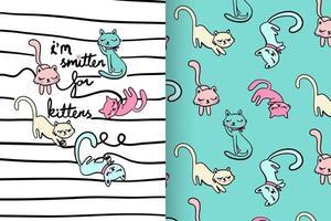 gatito lindo dibujado a mano con conjunto de patrones