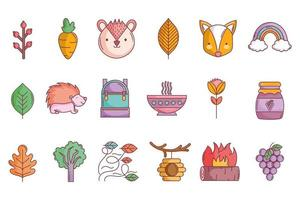 Cute autumn icon set vector