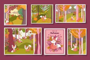 Hello autumn season poster set with cute foxes vector