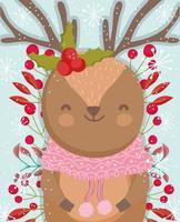 lindo reno de invierno con bayas y follaje vector