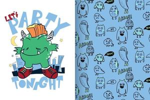 Hand drawn cute monster with pattern set