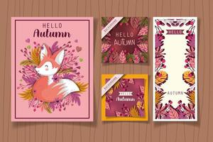 Hello autumn season poster set vector