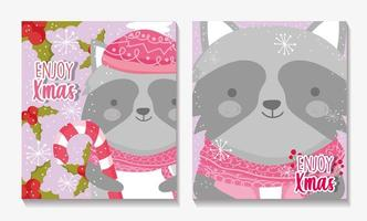 Merry Christmas card set with happy raccoon vector