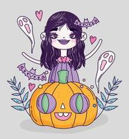 lindo cartel de halloween con brujita