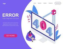 Error 404 concept isometric landing page vector