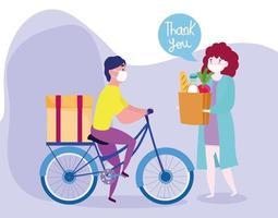 concepto de entrega segura durante el coronavirus con mensajero en bicicleta y cliente