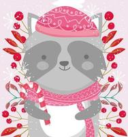 cute winter raccon with scarf, berries and foliage vector