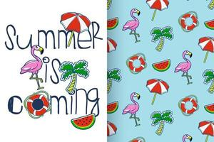 Hand drawn cute flamingo with pattern set
