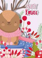 cute winter reindeer with scarf, berries and foliage for Christmas vector
