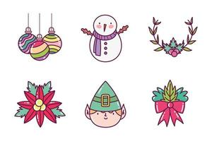 feliz navidad, conjunto de iconos