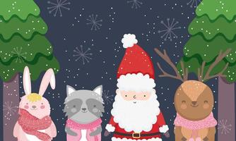 Merry Christmas poster with happy characters vector