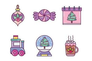 Merry Christmas icon set vector