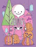 lindo cartel de halloween con esqueleto