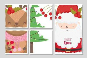 Merry Christmas card set with happy Santa Claus and reindeer vector