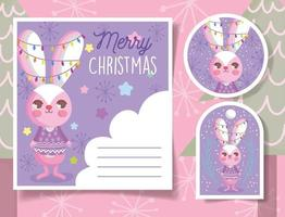 Cute Christmas tags with happy rabbit vector