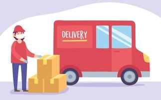 concepto de entrega segura durante el coronavirus con mensajero y camión