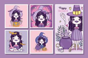 Cute Halloween poster set with little witch vector