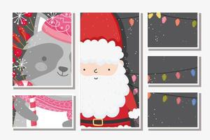 Merry Christmas card set with happy Santa Claus and raccoon vector