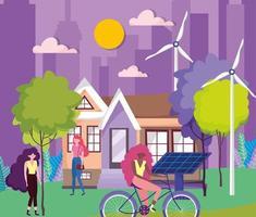 women doing outdoor activities in an eco city vector