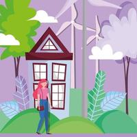 woman with house and wind energy turbine for ecology concept