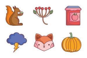 lindo conjunto de iconos de otoño vector