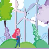 woman with wind energy turbines for ecology concept