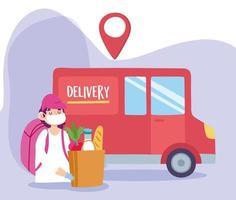 concepto de entrega segura durante coronavirus con mensajería y camión