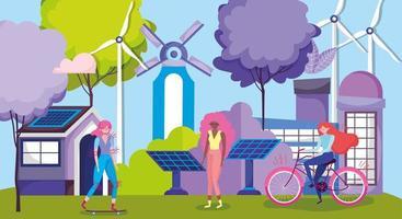 mujeres haciendo actividades al aire libre en una ciudad ecológica.