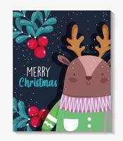 Merry Christmas poster with happy reindeer vector