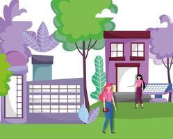 Mujeres con casas con energía de paneles solares sostenibles para el concepto de ecología vector
