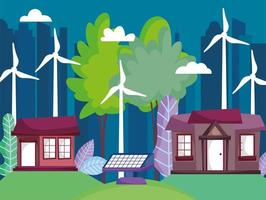 houses and cityscape with wind turbines and solar panel energy for ecology concept