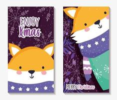 Merry Christmas poster set with happy fox vector