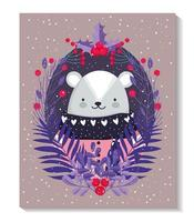 polar bear with sweater, berries and foliage for winter vector