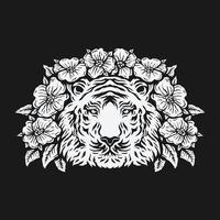 tiger head surrounded by rose flower. black and white drawing. vector illustration