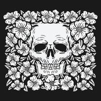 Dibujo a mano alzada, cráneo rodeado de flores rosas ilustración vectorial vector