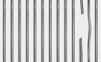 Broken jail bars in 3d style on isolated background. Vector illustration.