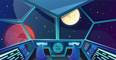 Spaceship interior of captains bridge with chair in cartoon style. Futuristic command post. Vector illustration with radar, screen, hologram, moon, mars and stars. Space. Cosmos vector