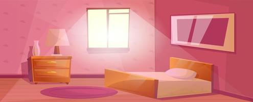 Bedroom interior with window and a large bed Nightstand with the lamp and vase. Purple carpet on the floor. Textured Wallpaper with pictures on the wall. Cartoon room in pink color vector