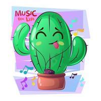 planta de cactus bailando con cara feliz. suculento con jugador. estilo de dibujos animados con lema, música en vivo.